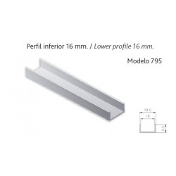 """MTS. PERFIL """"U"""" 16mm PLATA"""